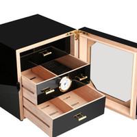 черная коробка для сигарет оптовых-Новое прибытие COHIBA Black Cigarette Box Cabinet Cedar Cigarette Фортепиано для выпечки хьюмидора 3 ящика с гигрометрическим увлажнителем