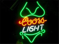 NEON SIGN para COORS LIGHT GREEN BIKINI Tienda Personalizada Pantalla Beer Bar Pub Club Luces Luces Shop Decorar Real Glass Tube Bulbs