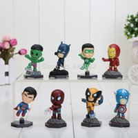 8pcs Anime / set 6.5cm Marvel The Avengers Superheroes capitaine américain Hulk Spiderman Mini action PVC Figure Jouets Poupées