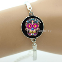 Wholesale Day Dead Skulls - Day of the Dead skull bracelet,art picture of sugar skull and beautiful flowers,Day of the Dead skull bracelet,women jewelry -1182