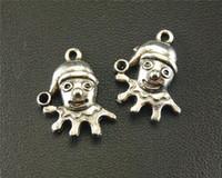 Wholesale Antique Clown - 20pcs Antique Sliver Clown Charm Pendant DIY Necklace Bracelet Supplies Findings 17x22mm A1578