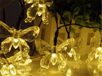 Wholesale Solar Energy Butterfly - New Energy Saving Solar Fairy LED String Light Novelty Butterfly Lamps Outdoor 2016 Festival Party Garden Decoration Lights 4.8M 20 Beads