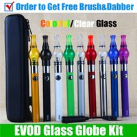 Wholesale Electronic Cigarette Oil Wax - Glass Globe Dab vape pen EVOD vaporizer dry herb Wax Vaporizer Pen electronic cigarette evod passthrough oil wax vaporizer pen starter kits