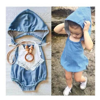 Wholesale diaper cover 2t - INS baby girls infant toddler Romper Denim With Hat Romper diaper covers bloomers Ruffles headwrap cotton Free Shipping