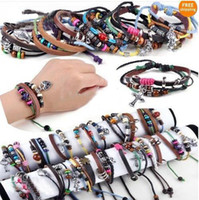Wholesale bracelets mix order resale online - Mix order Multi styles Men Women Braid Leather Genuine leather Cord Bead Cross Heart Charm Pendant Bracelet Wristband Hemp Surfer