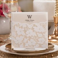 Wholesale Pearl Wedding Invitation Cards - 100pcs Laser Cut Flower with Small Pearl Lace Pocket Wedding Invitation Cards