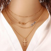 Wholesale hypoallergenic pendant necklace - Foreign trade in Europe and America temperament multilayer metal necklace cross fell 8 meters beads clavicle chain wild hypoallergenic