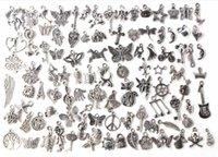 Wholesale Cheap Vintage Bracelets - New 100pcs Lot Mixed Vintage Silver Plated European Bracelets Charm Pendants Fashion Jewelry Making Findings DIY Charms Handmade Cheap alloy