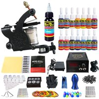 Wholesale Starter Kits Tattoos - US SHIPPING!Solong Tattoo® Complete starter Tattoo Kit 1 Pro Machine 14 Inks Power Supply Foot Pedal TK102US