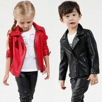 Wholesale Leather Jackets Children Girls - Autumn Outwear Winter Girls Coats Jackets Boys PU Leather Rivet Jacket Fashion Turn-down Collar Children Outerwear