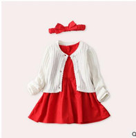 Wholesale Toddler Red Cardigan - Toddlers kids outfits girls suspender dress+shorts+Hair bands+long sleeve Cardigan outwear 4pcs sets Infants Birthday party clothes G0834