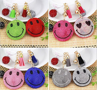 Wholesale Girls Acessories - New Creative Smile Keychain Emoji Smile Key Ring With Colorful Rhinestone Promotion Gift Jewelery Fashion Acessories