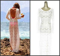 Wholesale Lycra Long Stockings - Bohemian White Lace Beach Dresses Sexy Backless Sheer Long Sleeve Floor Length Long Bikini Cover ups Real Picture 2016 In Stock