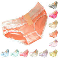 Wholesale Pink Cotton Knickers - Wholesale-Retail Wholesales Lovely Briefs Women's Multi-Color Cotton Soft Lace Bow-knot Underwear Briefs Knickers