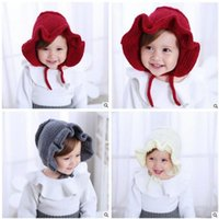 Wholesale Infant Baby Bucket Hat Wholesale - Newborn Baby Girls Hat Princess Flower Caps Winter Knitted Hat Photography Props Infant Toddler Flower Bucket Cap Bowknot Hat 1008