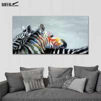 ingrosso quadri di arte zebra-Felice Zebra 100% dipinte a mano dipinti ad olio animale Divertente Cartoon Picture Paint su tela Modern Wall Art Bedroom Home Decoration