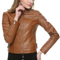 Wholesale women biker jacket faux leather - Wholesale- 2018 Brown Black Faux Leather Jacket Women Short Slim brand Motorcycle Biker Jacket White Leather Coat Chaquetas Mujer 5 Colors