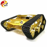 Wholesale Rc Car Frames - Wholesale- DOIT Y100 Robot Tracked Tank Car Chassis with Aluminium Alloy Frame and Wheel for Robot Education Modification DIY Tank Model RC