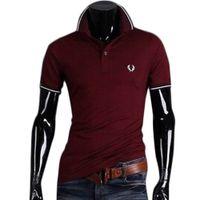 Wholesale Tee Shirt Red Collar - S5Q Men's Summer Stylish Casual Slim Fit Shirt T-shirts Short Sleeve Tee Shirt AAAFYJ