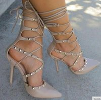 Wholesale Hot Sexy Wedges - hot 2017 Roman Sandals Women Pumps European New Style Booties Ladies Sexy Hollow Cross Lace Up Rivets Stiletto High Heels Shoes Woman
