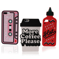 Wholesale Covers Iphone Cassette - Silicone case Cassette 3D spicy bottle more coffe please cup Case silicon Cover For Apple iPhone 7 7 Plus 6 6plus Case