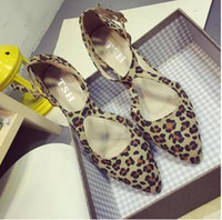 Wholesale Sexy Low Wedge Sandals - New listing Sexy Leopard Pointed Toe Ankle Strap Suede Sandals Party Wedding Shoes Woman Low Heel Lady Single Shoes101701 B