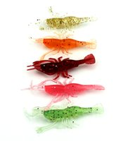 Wholesale Small Soft Lures - HENGJIA new 50pcs Lot Soft Shrimp Fishing Lure Baits artificial fishing shrimp lures small soft shrimp topwater bait 8cm 3.6g