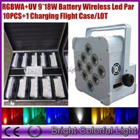Wholesale Led Par Lights China - (10lights+1 fly case lot) China wireless dmx led flat par can 9*18w RGBWAP LED Battery power wireless dmx led par light