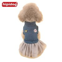 Wholesale Dog Jeans Skirt - Hipidog New Arrival Dog Jeans Clothes Dog Dress Spring Summer Pet Lace Skirt Eyes Lip Pattern Clothing for Small Large Dogs