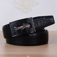 Wholesale Fashionable Belts For Men - Wholesale-Epacket New Arrived Alligator Grain Leather Mens Belts High Quality The Most Fashionable Belt for Men Wholesale Price