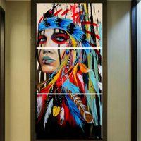 ingrosso dipinti indiani americani-ZZ678 Bellezza arte Tela Pittura Native American Indian Girl Feathered Moderna Casa Decorazione Della Parete di Arte Stampa stampa a goccia dipinti
