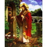 Wholesale Door Knock - HWF-212 Diy Diamond Painting embroidery home decor cross stitch christmas gift Jesus knocks on the door diamond 40X50CM