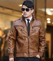 Wholesale Led Leather Jacket - New winter men's Slim leather jacket men plus velvet thickening motoodezhda lead singer dress costumes  M-3XL