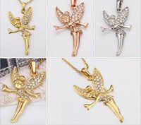 Wholesale Doll Necklaces - Christmas gift 24k 18k white gold rose gold Barbie doll Pendant Necklaces jewelry GN010 hot sale fashion gemstone crystal necklace