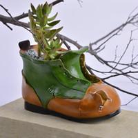 Wholesale Boots Coat - succulents pots Decorative fashion Creative boots molding flower pots planters succulent Resin pots put on desk home decoration wholesale