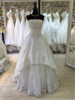 Wholesale Beach Tube Top Wedding Dresses - Boob Tube Top White Lace A Line 2016 Long Floor Length Custom Made Formal Bridal Gowns Designs NW020 Wedding Dress Sale