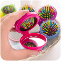 Wholesale Travel Brush Mirror - New Girls Portable Mini Folding Comb Airbag Massage Round Travel Hair brush With Mirror Cute free shipping