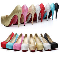 Mode Dame Women Prinzessin Diamanten Schimmer verzierte Rhinestone Hochzeitsfeier Braut Brautjungfer Queen Platform High Heels Pumps