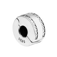 clip encantos tapones al por mayor-Logotipo de la marca Spacer Clip Charms Beads 925 Sterling Silver Clear Crystal Stopper Locks Bead Se adapta a pulseras del encanto DIY joyería que hace accesorios