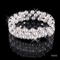 Wholesale Evening Jewelery - Modest Cheap In Stock 3 Row White Pearls Bridal Bracelets Wedding Jewelery Vintage Bracelet for Party Prom Evening Women Free Shipping 15013