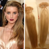Wholesale Hair Blond Keratin - 1g s 100g Human Remi Hair Black Brown Blond Straight Custom Capsule Keratin Flat Tip Fusion Human Hair Extensions