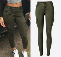 Wholesale Tight Army Pant - 2016 New Low waisted Slim Pencil Pants jeans Demain trousers Boyfriend Style Big Girl leggings Tight trousers Army Green Outwear pants Jeans