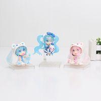 Wholesale Pink Miku - 6cm 3styles Anime Vocaloid Hatsune Miku Sakura Bear Blue Pink Ver. PVC Action Figure Collectible Model Doll Kids Toys