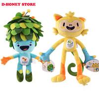 Wholesale Tom Cartoon Mascot - 30CM Rio de Janeiro 2016 Brazil Olympic Mascots Vinicius and Tom Paralympic Games Movies Cartoon Stuffed Animals Plush Toys Gift