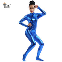 Wholesale Tight Black Turtleneck - Wholesale-The Crazy Ones Women Blue Metallic Headless Zentai Suit Cosplay Dancewear Turtleneck Unitard Footed Second Skin Tights