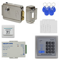 Wholesale Electronic Button Lock - Access Control System DIY 125KHz Rfid Full Kit Set + Electronic Door Lock + Power Supply + Exit Button K2000