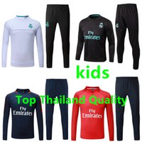 Wholesale Green Track Suits - Kids Real Madrid soccer tracksuit 2017 2018 Ronaldo Neymar jr survetement football training suit chandal jogging football track Sportswear