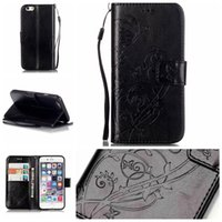 Wholesale Soft Leather 4s Card - 2016 For iphone 7 6 6s plus Embossed Wallet Leather Case Flip Soft Gel Cover Flower Butterfly for iphone 5 5s 5c 4s SCA200