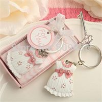 Wholesale girls baptism gifts - Baby Shower Favors and Gift Cute Baby Girl Dress Design Pink Key Chain Infant Baptism Souvenir Gift + FREE SHIPPING