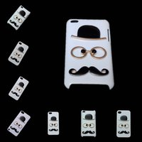 Wholesale Iphone 4s Back Glass Metal - Cute Skin Case for iPhone 4 4S 5 5S SE 5C 6 6S Plus iPhone 7 Plus, 3D Fashion Chaplin Sexy Gentleman Hat Glasses Mustache Hard Back Cover